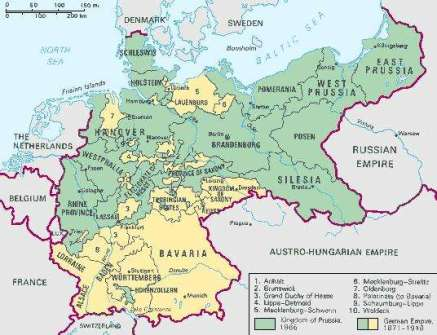 Map of Germany showing Baden and Prussia from Encyclopedia Brittanica