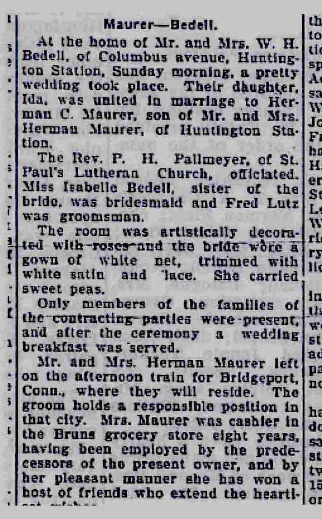 Maurer - Bedell Marriage